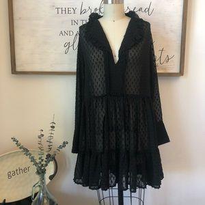 Gorgeous H&M Sheer Black Tunic Dress Sz 4